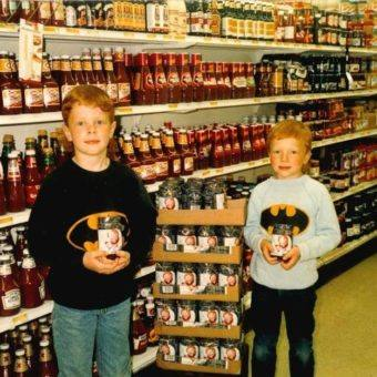 Lee and Michael at IGA in Cherry Valley late 1980s
