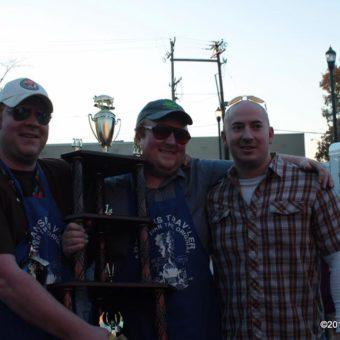Lee and Michael with Matt Crawford, Sons of the Original Pigtails Team in 2010 as Grand Prize Winners of Jonesboro Downtown BBQ Contest (Arkansas State Champions)